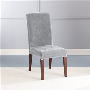 Sure Fit Stretch Plush Grey Jacquard Dining Chair Slipcover