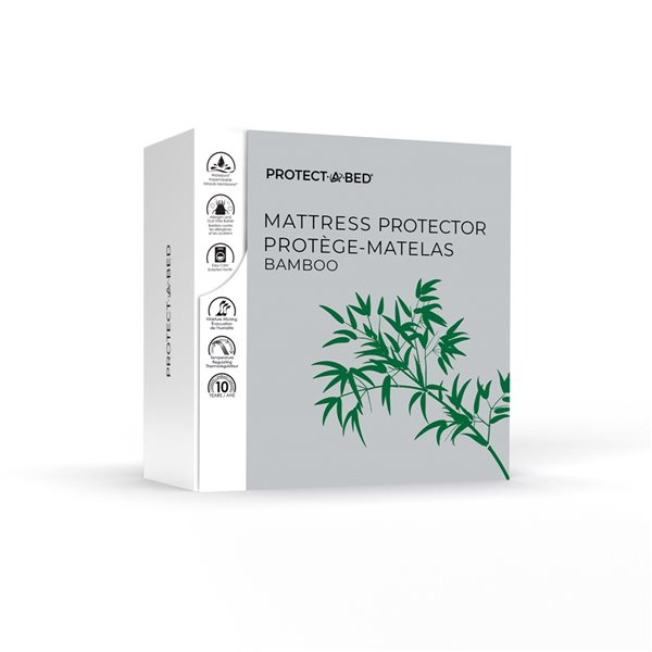 Couvre-matelas en polyester pour lit simple extra long Protect-A-Bed, 22po p.