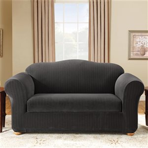 Sure Fit Stretch Pinstripe Brown Jacquard Loveseat Slipcover