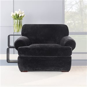 Sure Fit Stretch Plush Black Jacquard Chair Slipcover