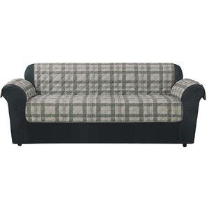 Sure Fit Highland Plaid Grey Jacquard Sofa Slipcover