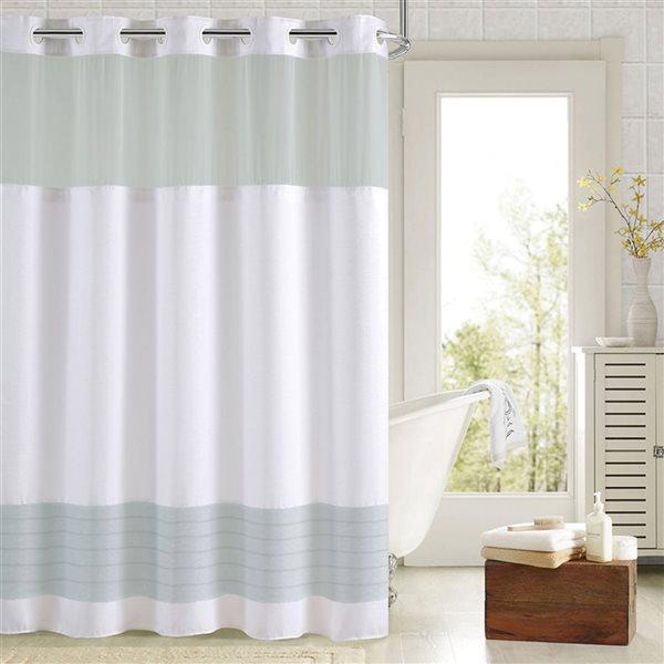Rideau de douche Hookless à motif en polyester, 74po x 71po, aqua