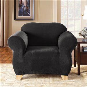 Sure Fit Stretch Pique Black Jacquard Chair Slipcover