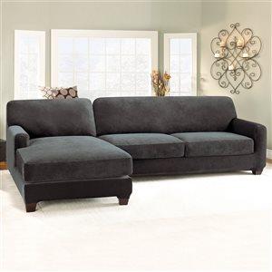 Sure Fit Stretch Pique Jacquard Sofa Slipcover - Black