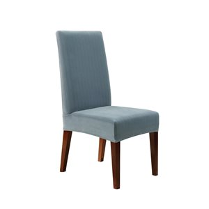 Sure Fit Stretch Pinstripe Blue Jacquard Dining Chair Slipcover