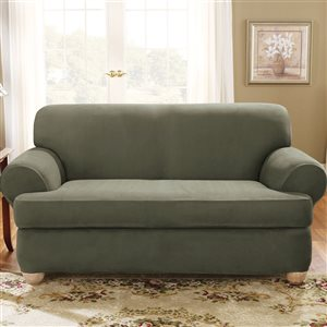 Sure Fit Stretch Suede Green Jacquard Loveseat Slipcover