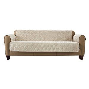 Sure Fit Faux Beige Jacquard Sofa Slipcover