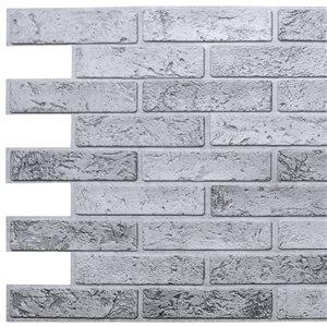 Panneau mural Falkirk rétro 3D III de Dundee Deco, brique grises, 3,2 pi x 1,6 pi, PVC, 5,2 pi² chacun, paquet de 10