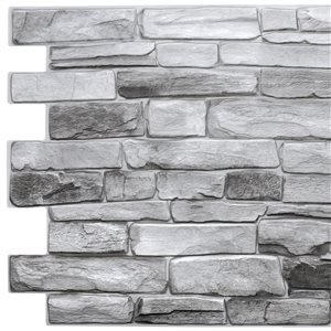 Dundee Deco Falkirk Retro 3D III Grey Faux Stone 3.2 ft X 1.6 ft PVC 3D Wall Panel - 5.3-sq. ft. each - 10-Pack