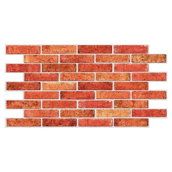Panneau mural Falkirk rétro 3D III de Dundee Deco, brique rouge, 3,2 pi x 1,6 pi, PVC, 2 pi² chacun, paquet de 5