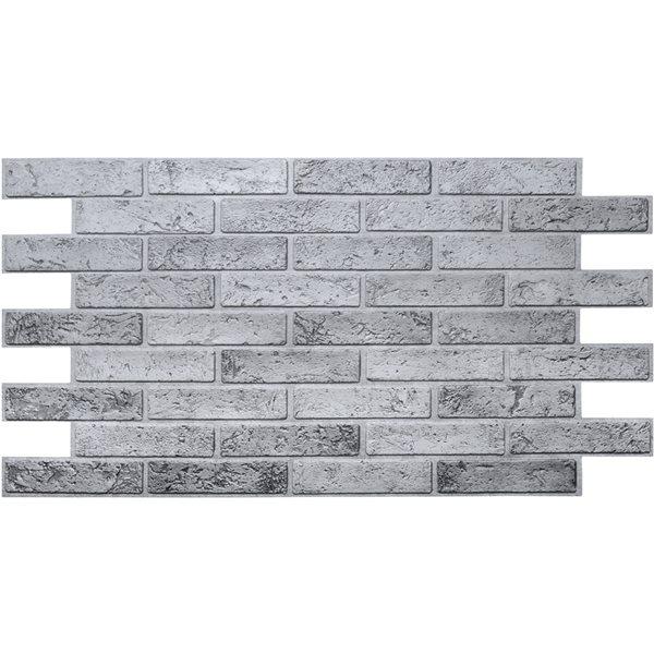 Panneau mural Falkirk rétro 3D III de Dundee Deco, fausse brique grise, 3,2 pi x 1,6 pi, 5,2 pi² chacun