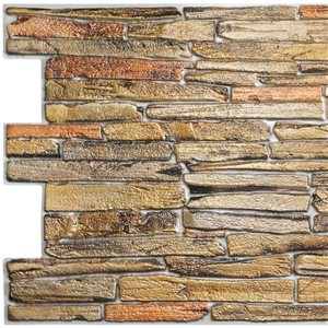 Panneau mural Falkirk rétro 3D III de Dundee Deco, fausses pierres brunes, 3,2 pi x 1,6 pi, 5,3 pi² chacun, paquet de 5