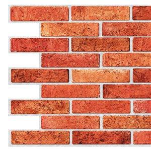 Panneau mural Falkirk rétro 3D III de Dundee Deco, fausse brique rouge, 3,2 pi x 1,6 pi, 5,2 pi² chacun