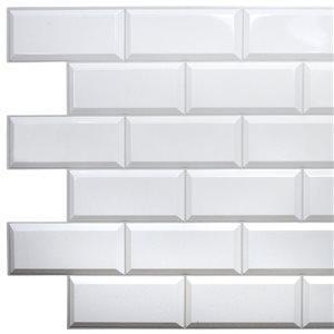 Panneau mural Falkirk rétro 3D III de Dundee Deco, carrelage blanc, 3,2 pi x 1,6 pi, 5 pi² chacun