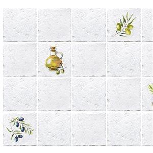 Panneau mural Falkirk rétro 3D III de Dundee Deco, beige et jaune de 3 pi x 2 pi, 5,8 pi² chacun, paquet de 5