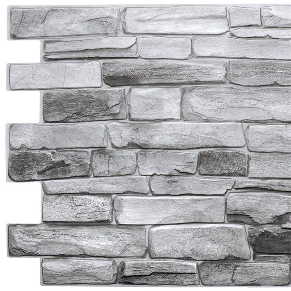 Panneau mural Falkirk rétro 3D III de Dundee Deco, fausses pierres grises 3,2 pi x 1,6 pi, PVC,  5,3 pi² chacun