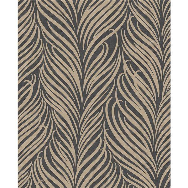 Papier peint non tissé et non encollé au motif botanique Alfie par Fine Decor couvrant 56,4 pi², brun
