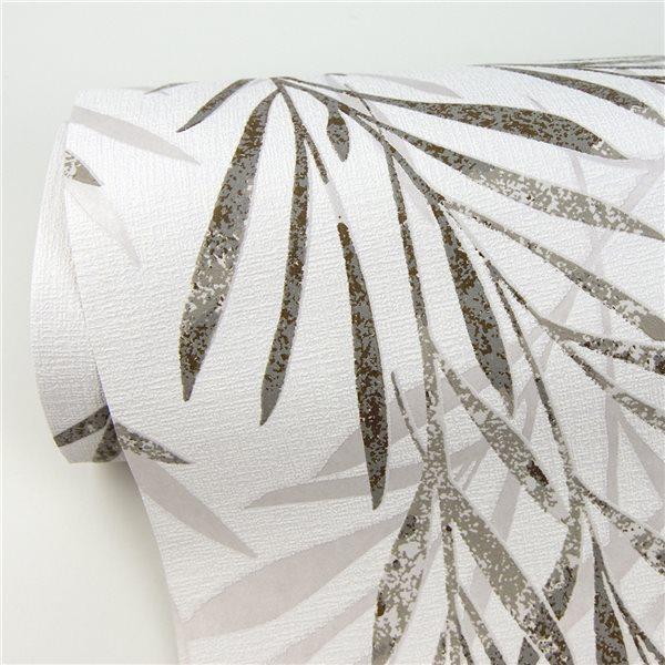 Papier peint en vinyle non encollé au motif botanique Bondi par Advantage couvrant 57,8 pi², taupe