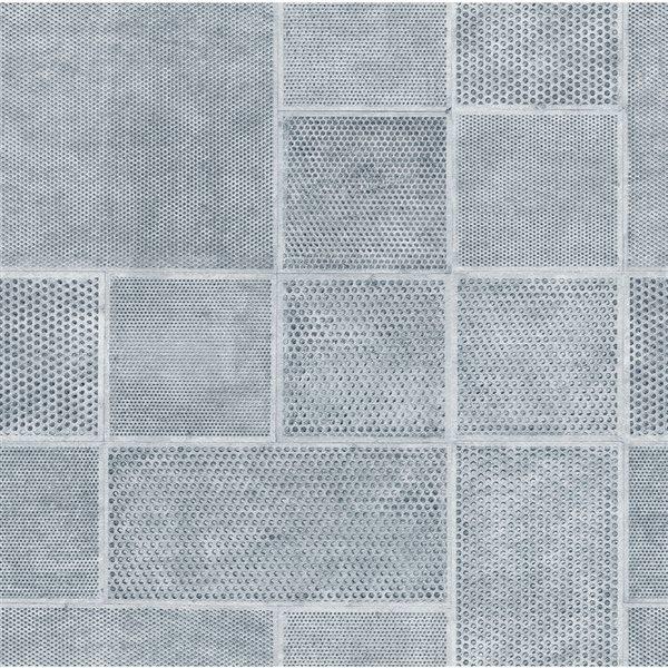 Papier peint en vinyle non encollé géométrique Ellison par Fine Decor couvrant 56,4 pi², bleu