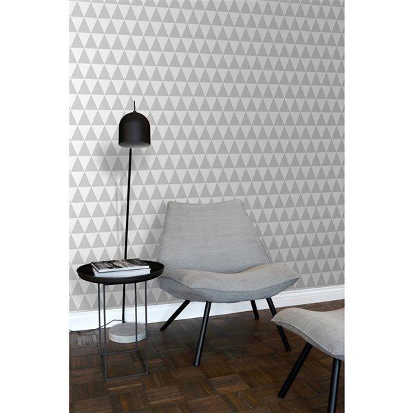 Papier peint non tissé et non encollé géométrique Verdon par ESTA Home couvrant 56,4 pi², gris clair