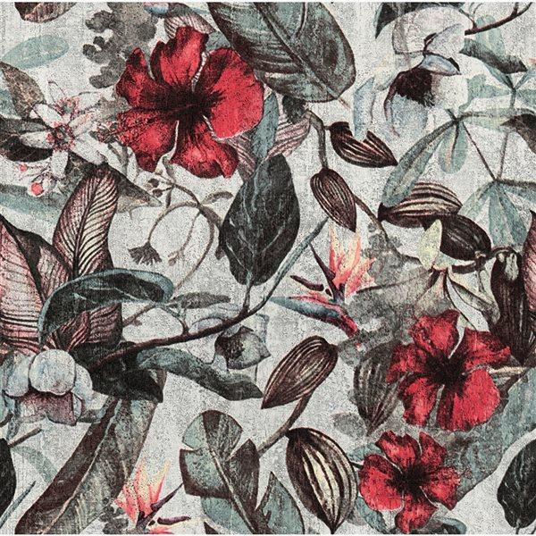 Papier peint en vinyle non encollé au motif botanique Kailano par Advantage couvrant 57,8 pi², vert