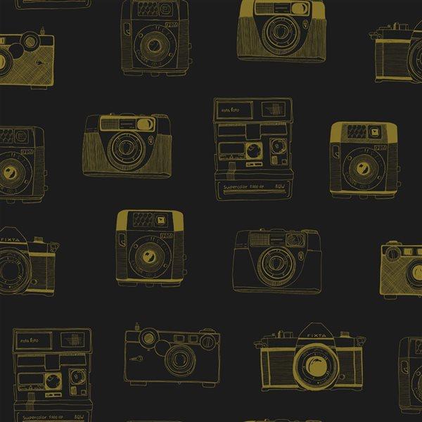 Papier peint non tissé et non encollé motif d'appareil photo rétro noir Pinkins par ESTA couvrant 56,4 pi²
