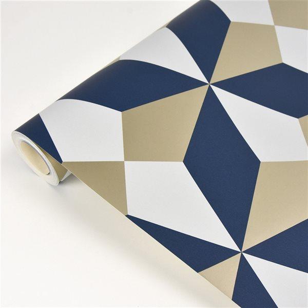 Papier peint non encollé au motif géométrique Newby par Fine Decor couvrant 56,4 pi², marine