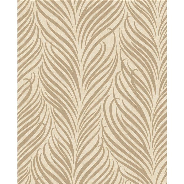 Papier peint non tissé et non encollé au motif botanique Alfie par Fine Decor couvrant 56,4 pi², crème