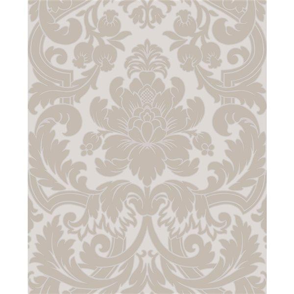 Papier peint non tissé et non encollé au motif damassé Blythe par Fine Decor couvrant 56,4 pi², neutre