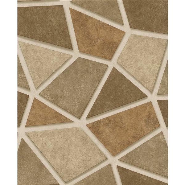 Papier peint non tissé et non encollé au motif de mosaïque Coty par Fine Decor couvrant 56,4 pi², or