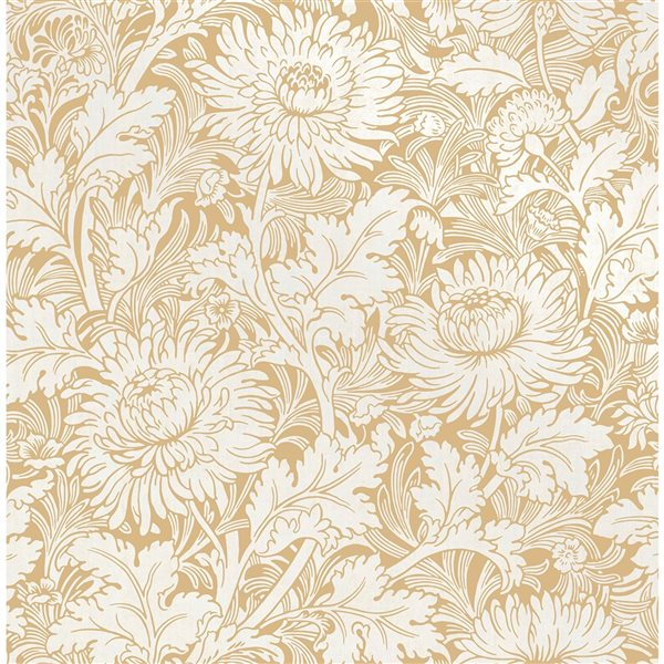 Papier peint non tissé et non encollé au motif floral Zinnia par Fine Decor couvrant 56,4 pi², jaune