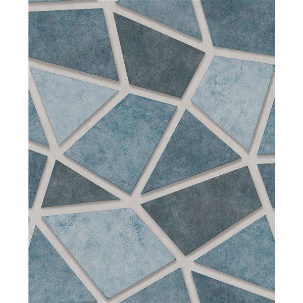 Papier peint non tissé et non encollé au motif de mosaïque Coty par Fine Decor couvrant 56,4 pi², bleu