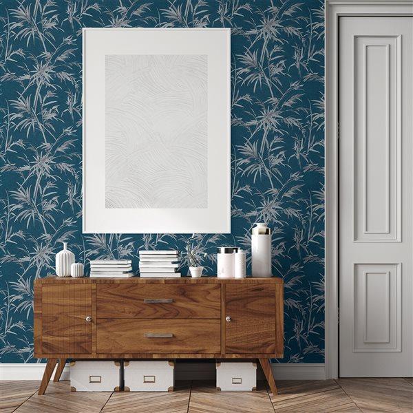 Papier peint en vinyle non encollé Hali par Advantage couvrant 57,8 pi², bleu