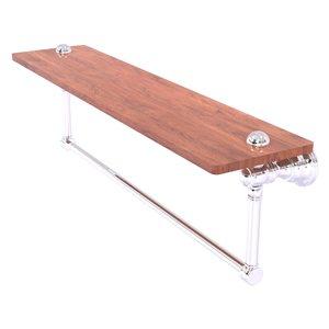 Allied Brass Carolina Polished Chrome 1-Tier Wood Wall Mount Bathroom Shelf
