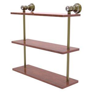 Allied Brass Carolina Crystal Antique Brass 3-Tier Wood Wall Mount Bathroom Shelf