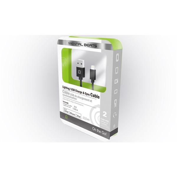 Câble de charge et de synchronisation noir de M, Mfi Lightning à USB, 6 pi