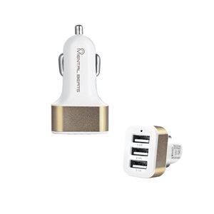 Adapteur de chargeur USB à 3 ports pour voiture de M, couleur or