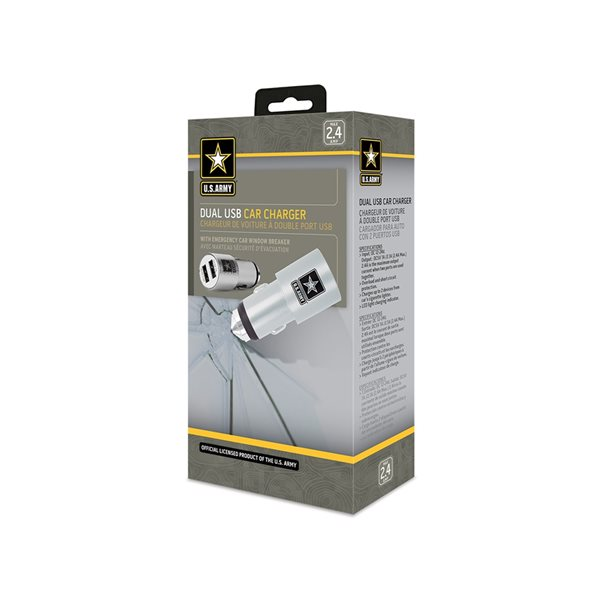 Chargeur de voiture USB double par U.S. Army avec brise-vitre d'urgence
