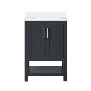 Ove Decors Vegas 24-in Dark Charcoal Single Sink Bathroom Vanity with White Marble Top