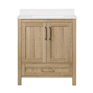 Ove Decors Kansas 30-in White Oak Single Sink Bathroom Vanity with White Marble Top