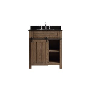 Ove Decors Oakland 30-in Nutmeg Single Sink Bathroom Vanity with Black Granite Top