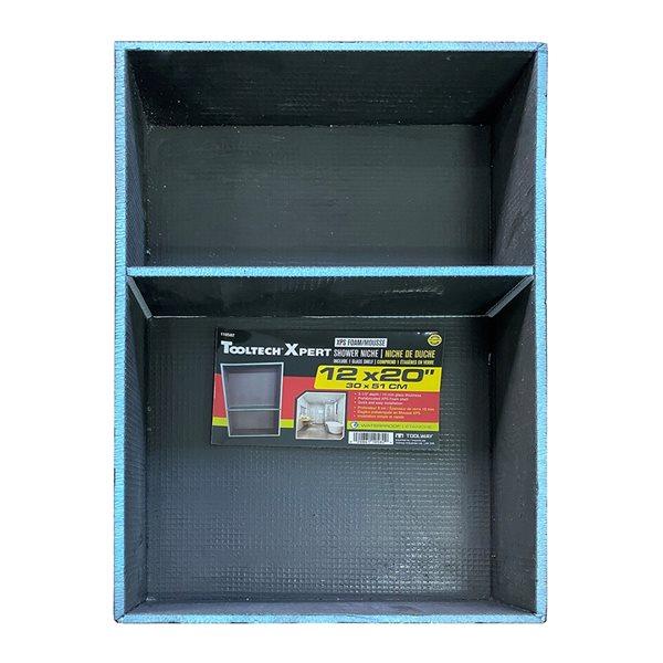 Niche de douche à 1 étagère Tooltech Xpert noire et en mousse à fixation murale
