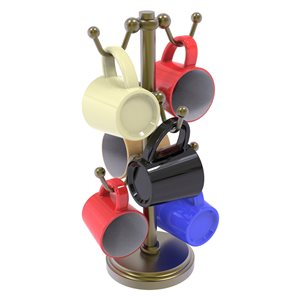 Allied Brass Countertop Coffee Mug Holder for 6 Mugs with Twisted Details