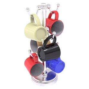 Allied Brass Chrome Countertop Coffee Mug Holder for 6 Mugs with Twisted Details