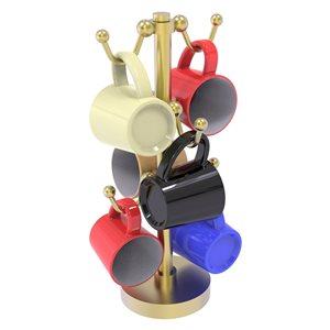 Allied Brass Gold Countertop Coffee Mug Holder for 6 Mugs