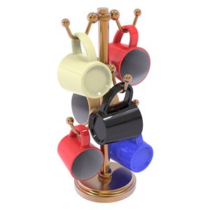 Allied Brass Bronze Countertop Coffee Mug Holder for 6 Mugs with Twisted Details