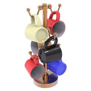 Allied Brass 13.9-in Bronze Countertop Coffee Mug Holder - 6-Mug Capacity