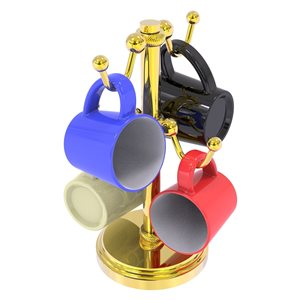 Allied Brass Countertop Coffee Mug Holder for 4 Mugs in Gold - Twisted Details