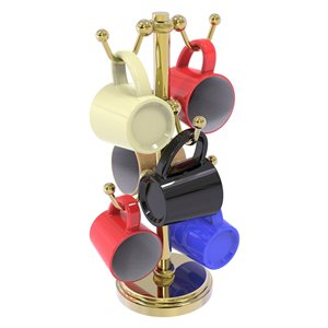 Allied Brass Countertop Coffee Mug Holder for 6 Mugs with Twisted Details in Gold