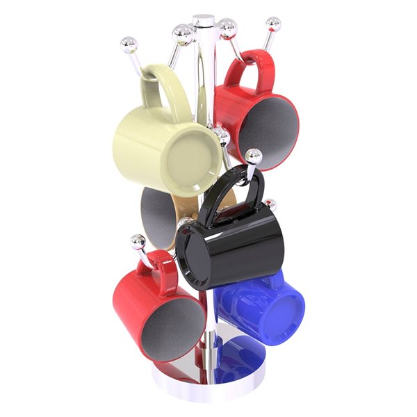Allied Brass 13.9-in Chrome Countertop Coffee Mug Holder - 6-Mug Capacity